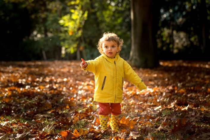 A girl enjoys playing in the autumn leaves during a sunny park photoshoot