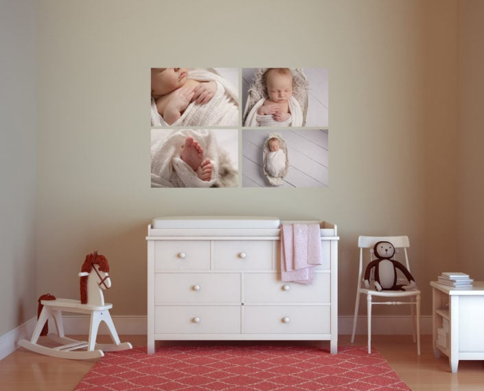 A baby nursery looks amazing with a series of wall art on the walls