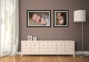 Two baby wall arts hang above a sideboard in the living room after a Muswell Hill photography session