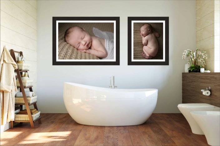 Some clients hang gorgeous wall prints in the bathroom