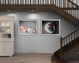 Two wall arts hang under the stairs after a North London photography session