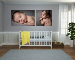 Two baby wall arts hang above the cot transforming the room