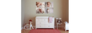 My indulge set of four frames hangs above a changing table following a baby photographer session