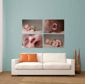 My indulge set of four frames hangs above a sofa following a baby photographer session