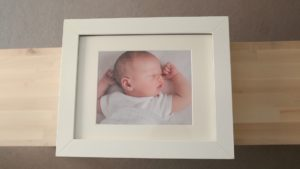 Portfolio Box with mounted images from baby photographer London shoot