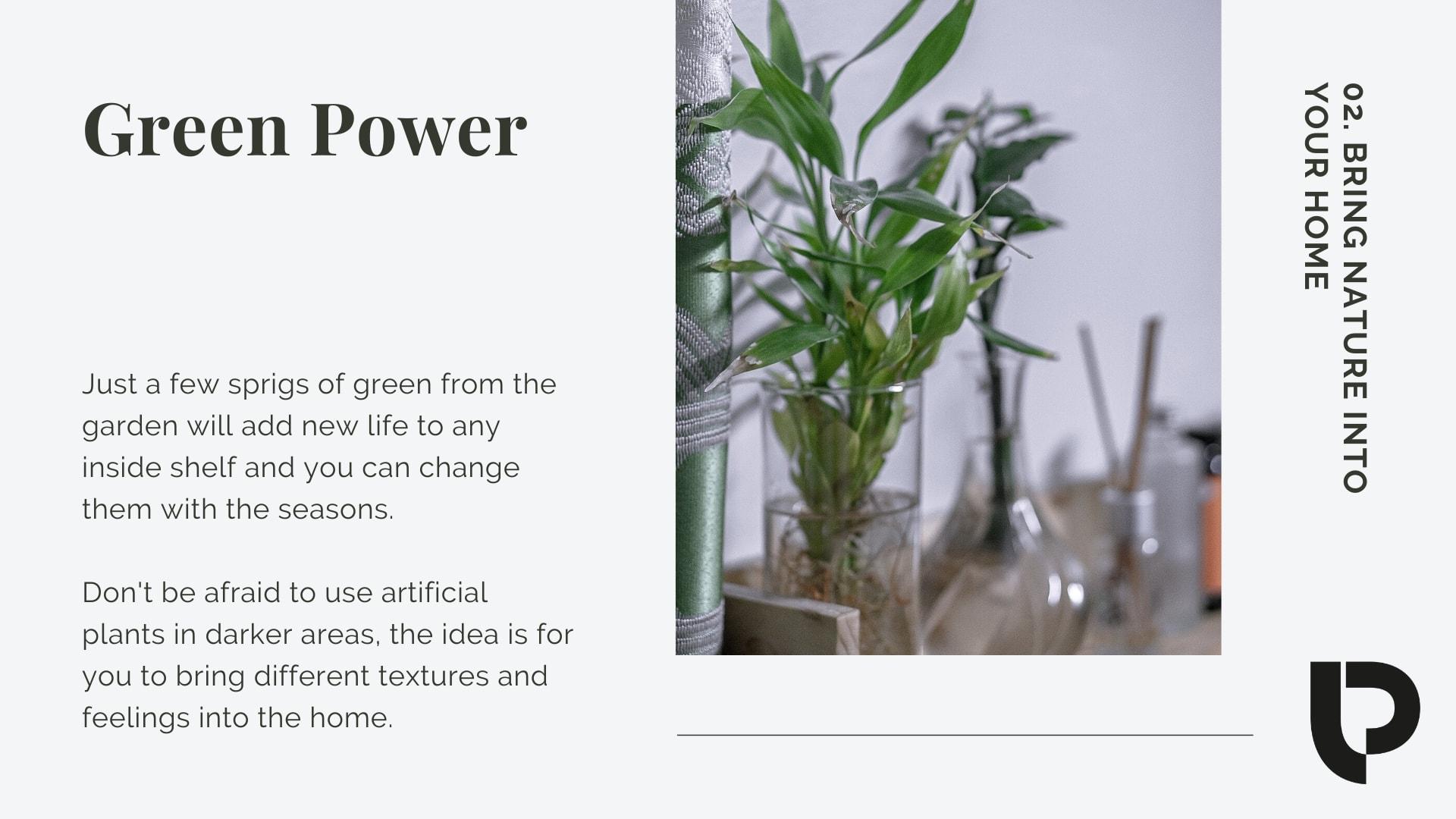 Photo shelf design: green power