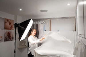 Baby photographer London Louisa Peacock prepares her studio for a newborn session