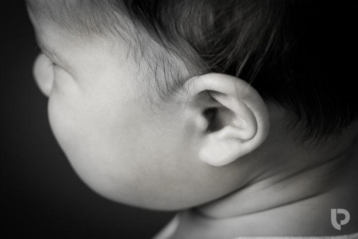 A macro or close up shot of baby's cute ear