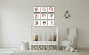 A stunning collection of wall frames hang over a baby nursery following a Muswell Hill baby photography shoot