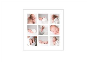 A newborn photography photo frame with nine images